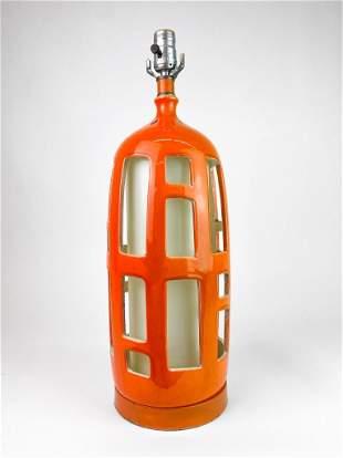 Ceramic Orange Glaze Vintage Mid Century Table Lamp
