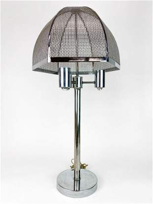 Chrome Hexagonal Basket Shade 3 Light Vintage Lamp