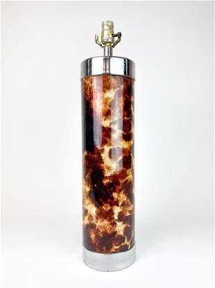 Faux Goatskin Chrome Cylindrical Late Century Lamp