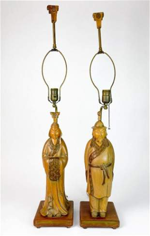 Pair Hand Carved Wood Figural Asian Male Female Lamp