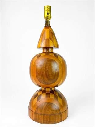 Artisan Made Turned Wood Vintage Mid Century Lamp