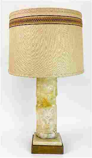 Aztec Revival Stone Mid Century Table Lamp