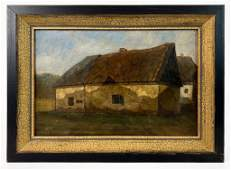 Signed Original Oil Painting on Canvas, Barn
