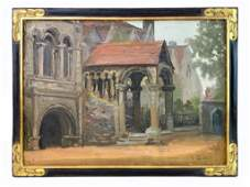 Artist Unknown Oil on Canvas, Building w/ Arches