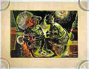 Signed P. Igboanugo Woodblock Print 2/10 1990