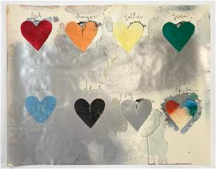 Jim Dine Lithograph Poster Eight Hearts