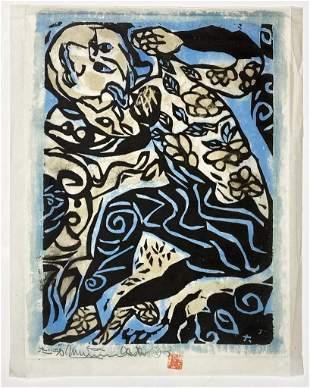 Munakata Shiko (1903-1975) Signed Woodblock Rice Paper