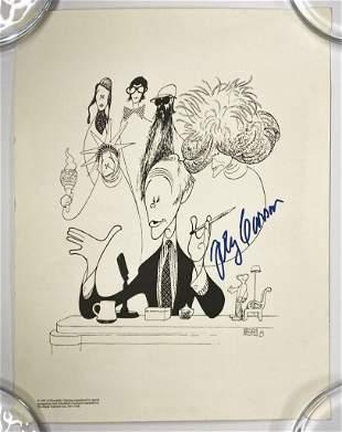 Al Hirschfeld Print w/ Original Autograph Johnny Carson
