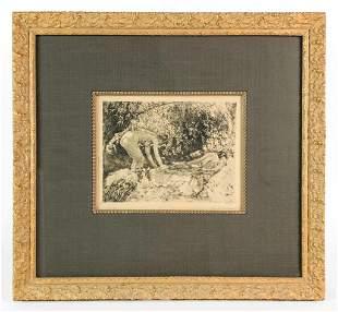 Lawton Parker (1868-1954) Pencil Signed Etching Bather