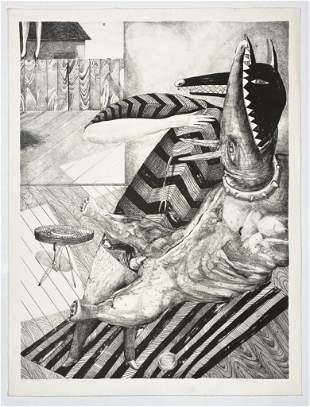 Bruce Hurley Pencil Signed Print AP Print Dog BBQ 1982