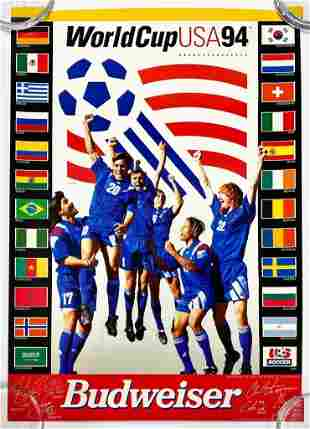 1994 World Cup Team USA Soccer Poster Budweiser