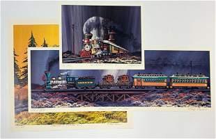 Group of 3 Fred Bonn Signed Prints Railroad Train