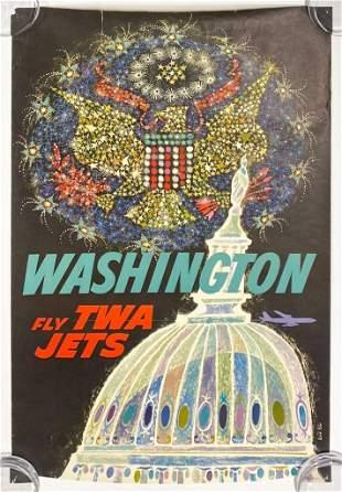 Vintage TWA Poster David Klein Wash. DC