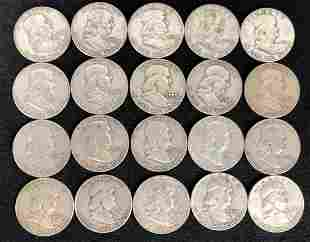 (20) 1951-1963 Franklin Half Dollar Silver Coins