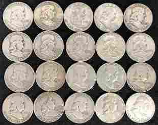 (20) 1948-1961 Franklin Half Dollar Silver Coins