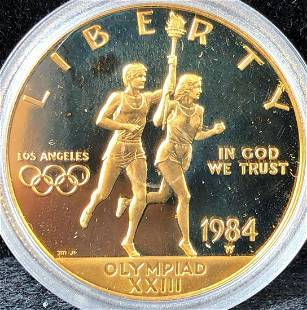 1984-W $10 Dollar Olympic Coin Gold 90% 16.72 grams