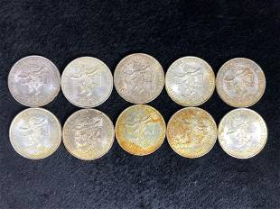 Lot of 10 1968 Olympic Mexico 25 Pesos Silver