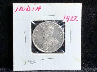 1922 India Half Rupee George V Silver Coin