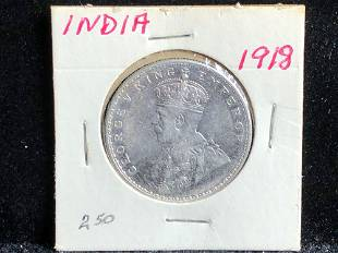 1918 India One Rupee George V Silver Coin