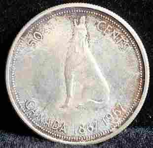 1967 Canada 50 Cents 80% Silver Coin