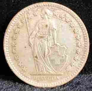 1948 Switzerland 2 Francs Silver Coin