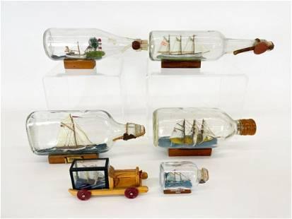 Lot 6 Vintage Model Ships in Bottles Gleason Collection