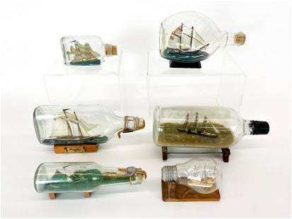 Lot 6 Model Ships in Bottles Gleason Collection