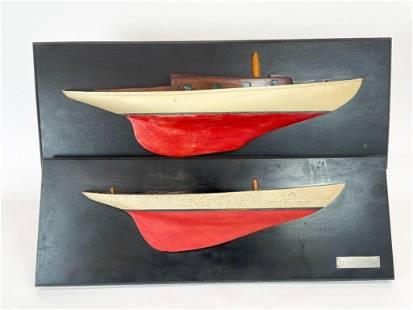 Pair Half Model Ships Joe Duncan Gleason Estate