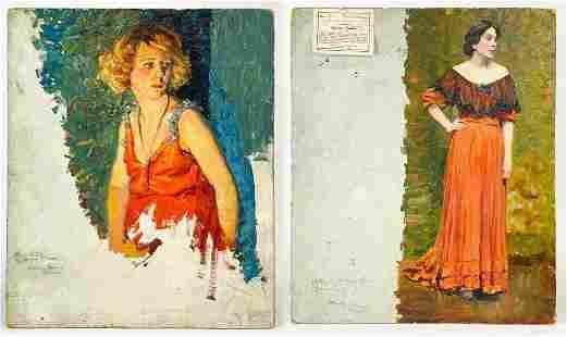 Joe Duncan Gleason (1881-1959) Oil on Board 2-Sided