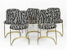 Set of Five (5) Willy Rizzo Brass Chairs Made in Italy