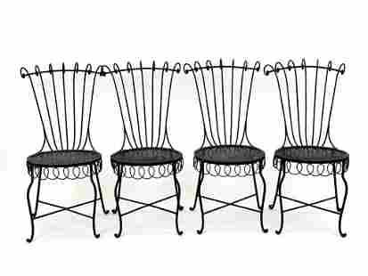 Mathieu Mategot Attrib. Set of 4 Wrought Iron Chairs