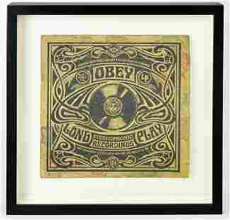Shepard Fairey, Signed Print HPM Obey Recordings 3/6
