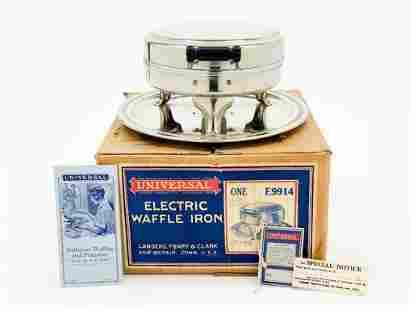 Universal Nickel Waffle Iron 1929 W/ Box Model E9914