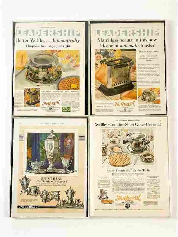 Lot of 4 Framed Reproduction Vintage Appliance Ads