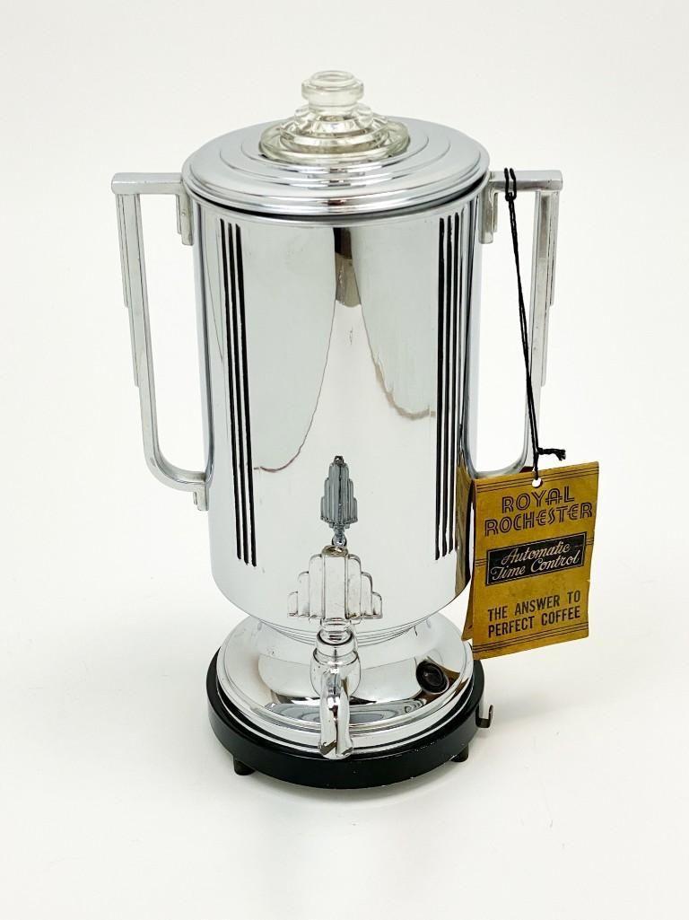 Royal Rochester Chrome 8 Cup Coffee Maker Circa 1930s