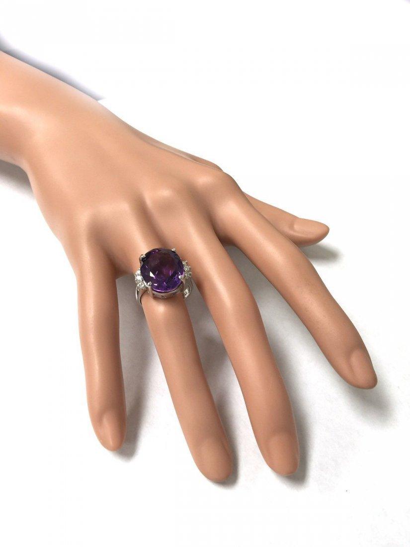 11.16CTW Natural Purple Amethyst & Diamonds in 14K GOLD