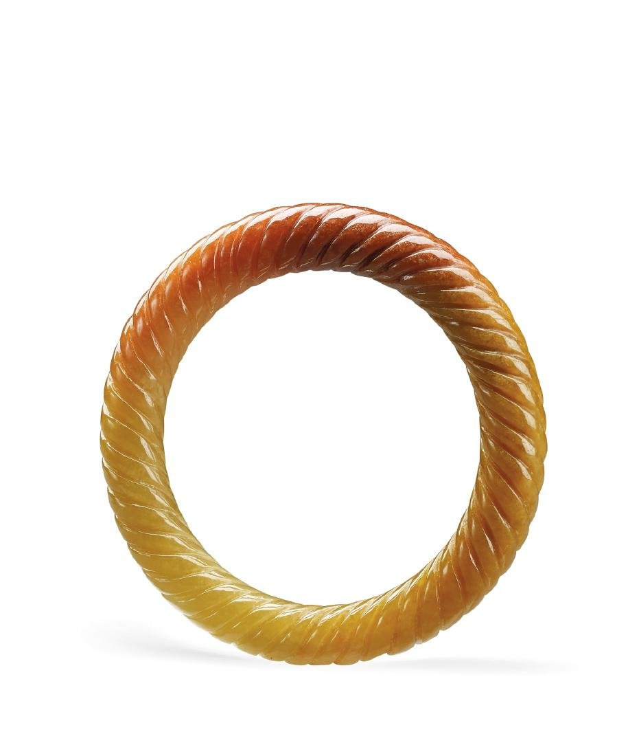 A Yellow Jadeite 'Rope Twist' Bangle 19th