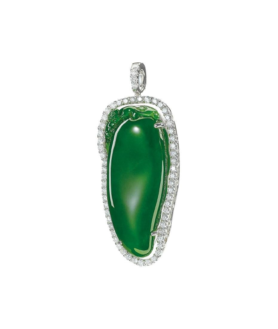 A Jadeite and Diamond 'Melon' Pendant