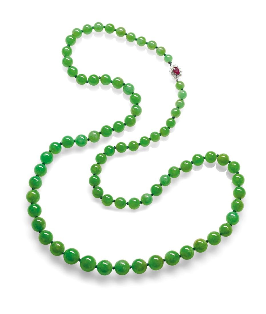 A Fine and Rare Jadeite, Ruby and Diamond Necklace