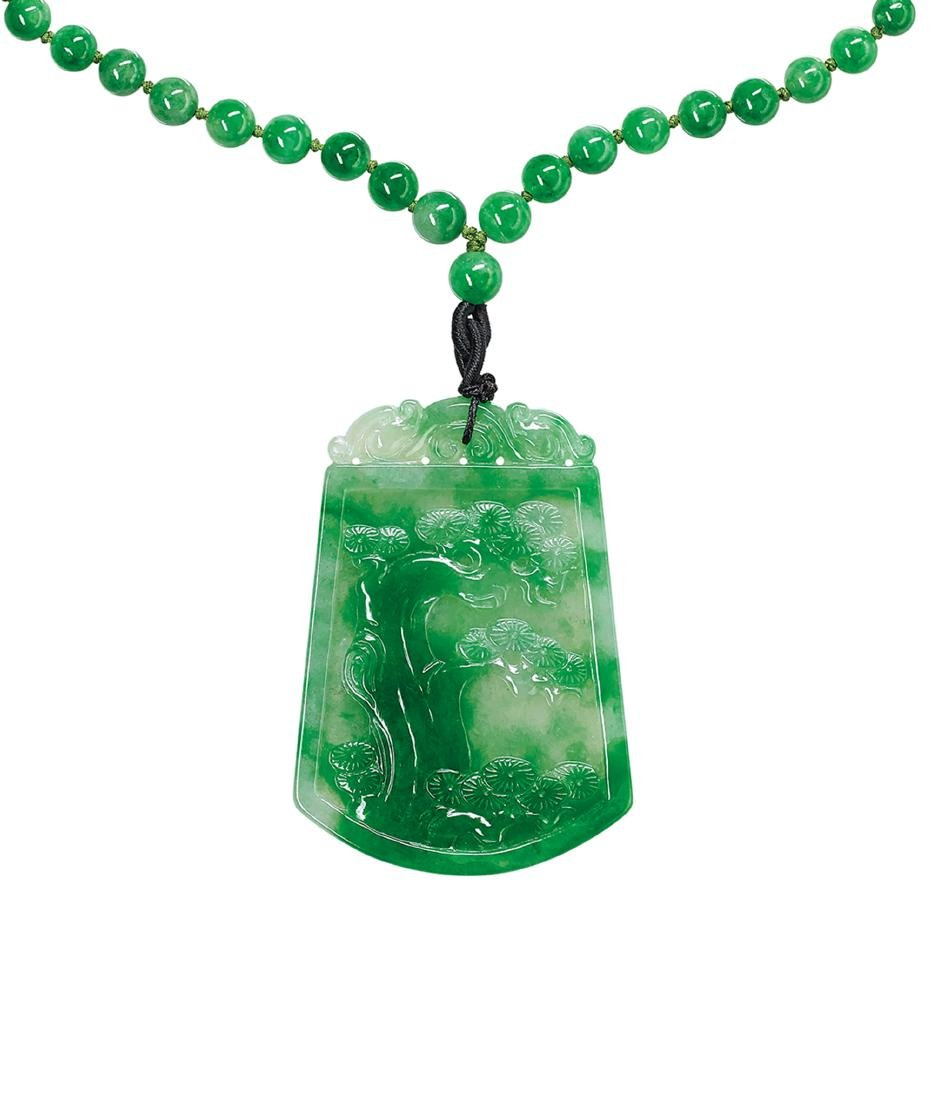 An Icy Jadeite 'Bamboo' Pendant and Jadeite Necklace