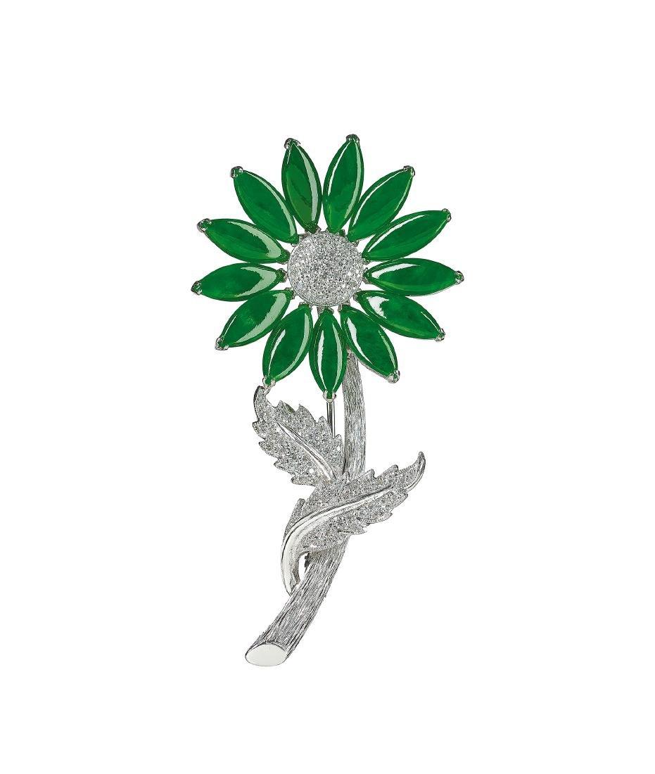 A Jadeite and Diamond 'Sunflower' Brooch
