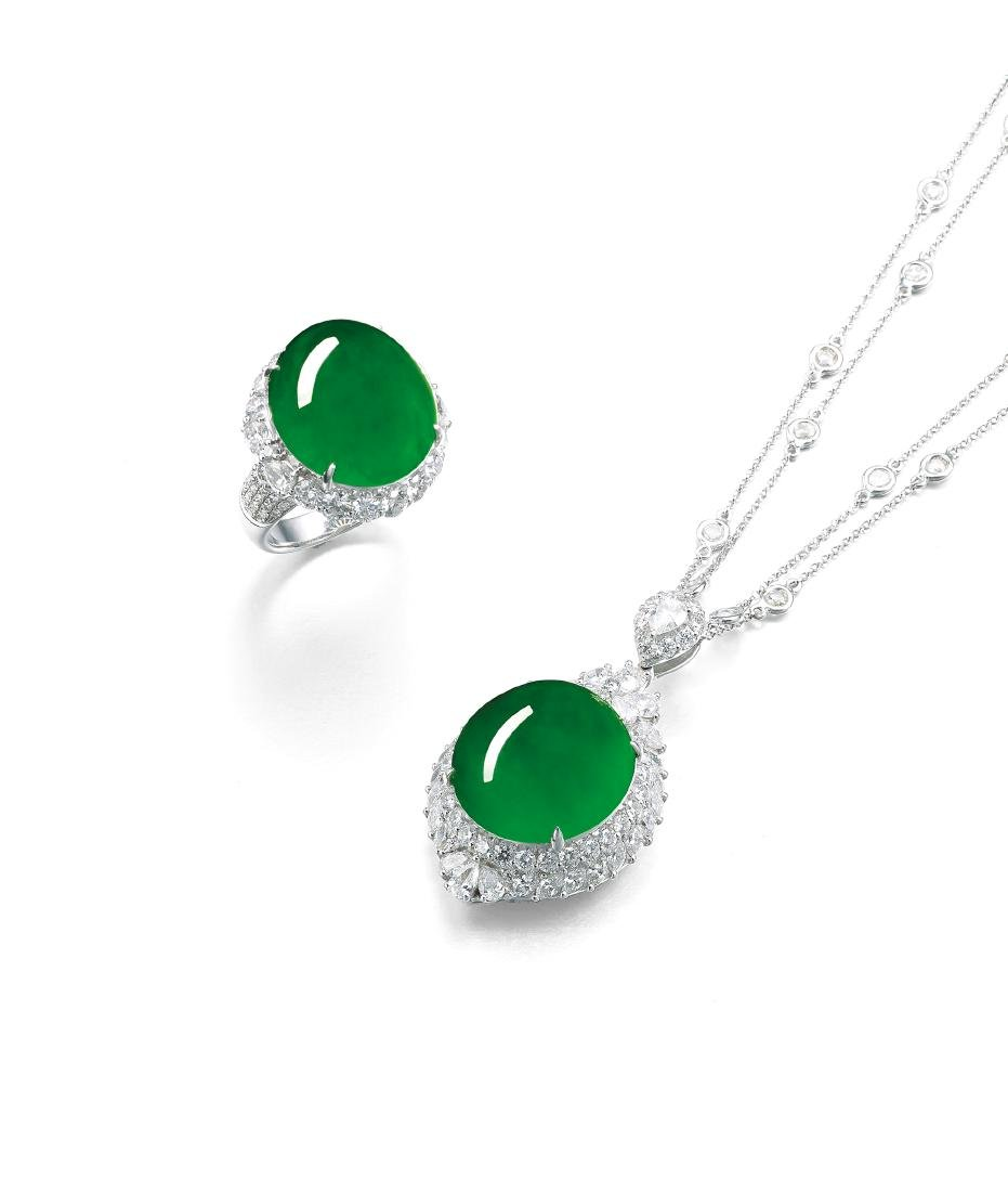 A Magnificent Suite of Jadeite and Diamond Necklace and