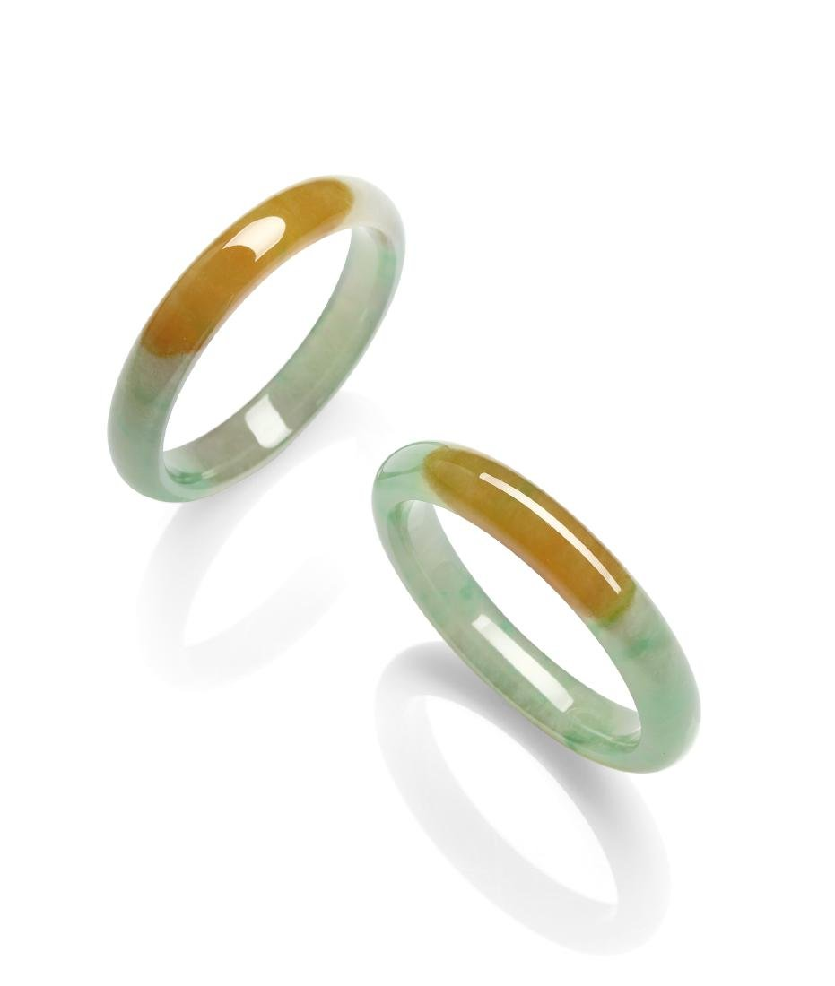A Pair of Bi-Color Icy Jadeite Bangles