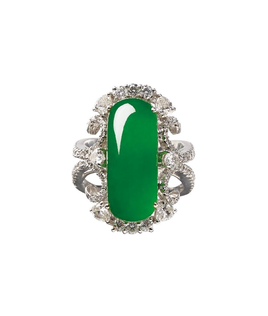 A Jadeite and Diamond Saddle Ring