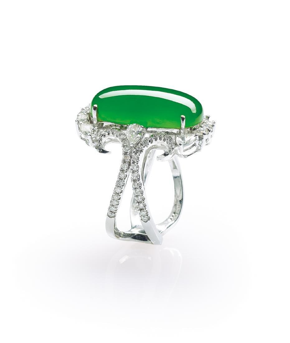 A Jadeite and Diamond Saddle Ring - 2