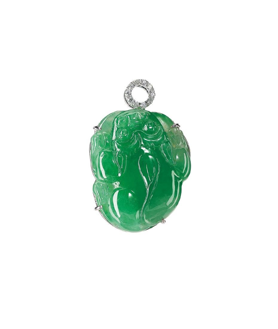 A Jadeite and Diamond 'Pixiu' Pendant