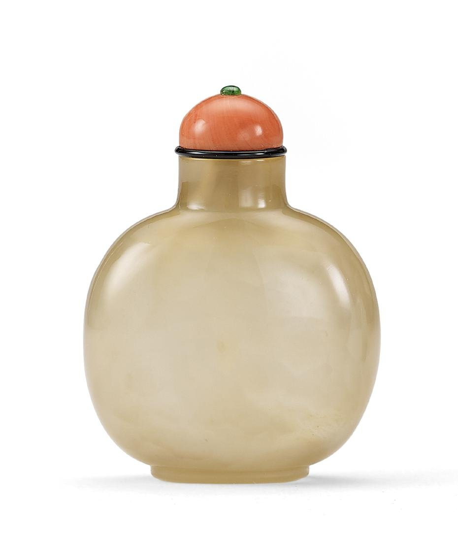 A Carved Agate Snuff Bottle Qing Dynasty