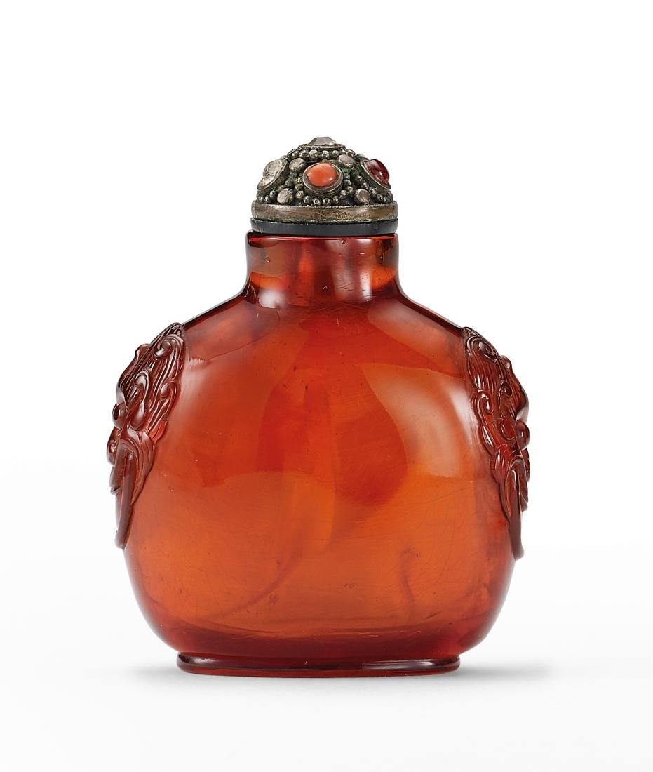 An Amber Snuff Bottle Qing Dynasty
