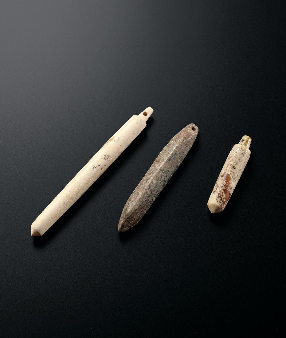 A Set of Three Conical Jade Carvings Neolithic