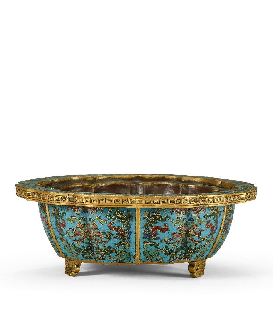 A Fine Gilt-Bronze And Cloisonne Enamel Lobed
